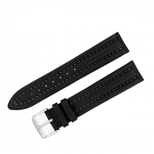 Aviator leather strap / 20 mm / black / grey / mat buckle