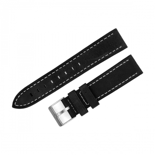 Aviator leather strap / 20 mm / black / white / mat buckle