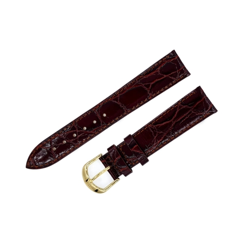 Aviator leather strap / 18 mm / red / brown / golden buckle