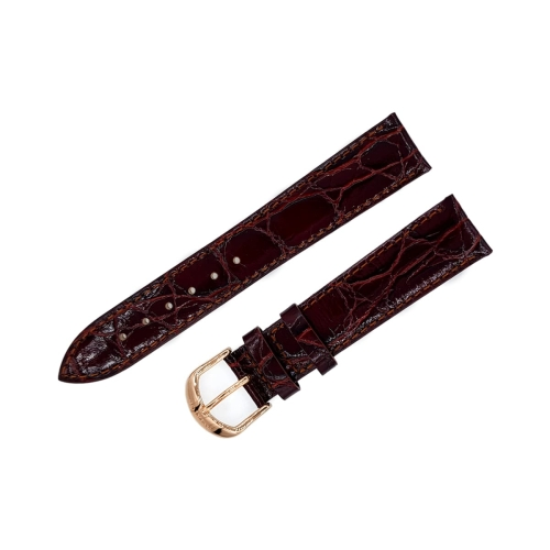 Aviator leather strap / 18 mm / red / brown / rose buckle
