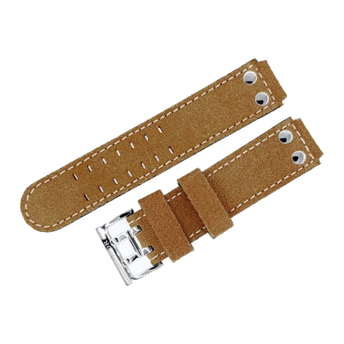 Aviator leather strap / 18 mm / brown / white / polished buckle