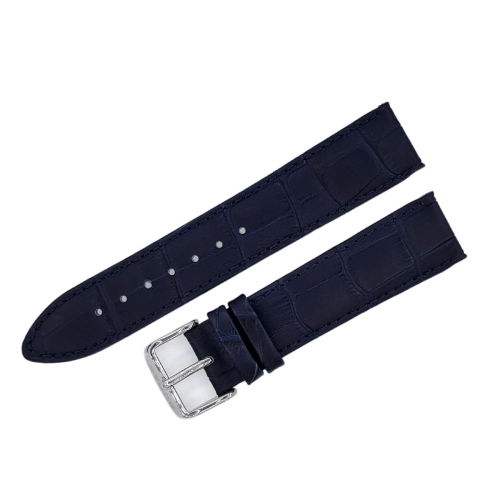 Buran leather strap / 20 mm / blue / polished buckle