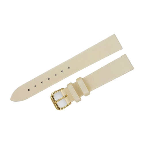Buran satin leather strap / 16 mm / champagne / golden buckle