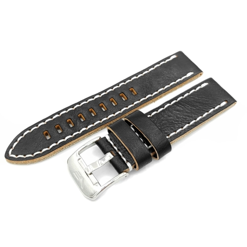 Vostok Europe Almaz leather strap / 22 mm / black / white / polished buckle