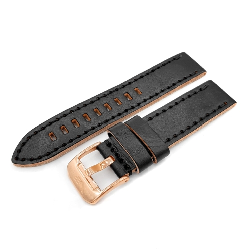Vostok Europe Almaz leather strap / 22 mm / black / rose buckle