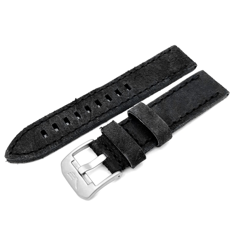 Vostok Europe Almaz leather strap / 22 mm / grey / black / mat buckle