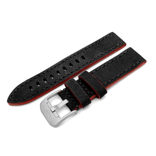 Vostok Europe Almaz leather strap / 22 mm / grey / red / mat buckle