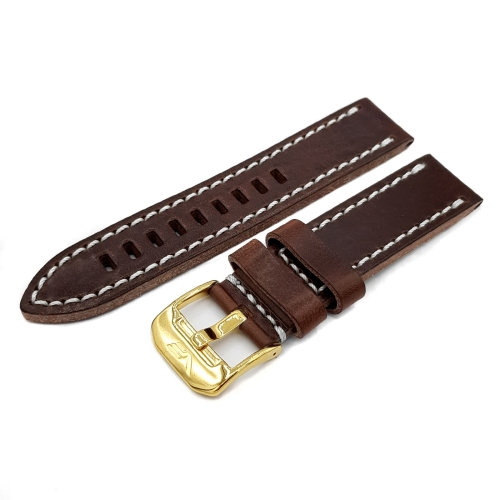 Vostok Europe Almaz leather strap / 22 mm / brown / white / yellow buckle
