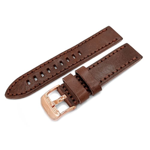 Vostok Europe Almaz leather strap / 22 mm / brown / rose buckle