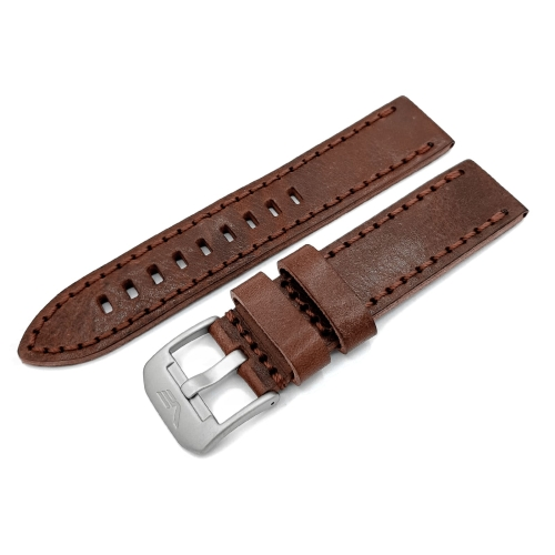 Vostok Europe Almaz leather strap / 22 mm / brown / mat buckle