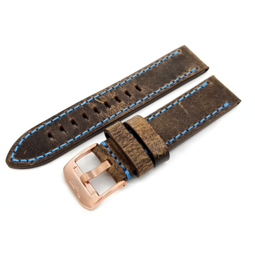 Vostok Europe Almaz leather strap / 22 mm / brown / Patina / blue / rose buckle