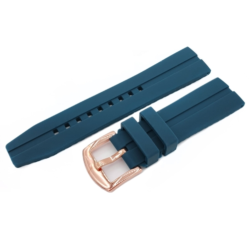 Vostok Europe Almaz silicone strap / 22 mm / blue / rose buckle