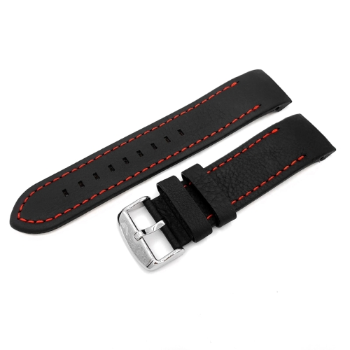 Vostok Europe Anchar leather strap / 24 mm / black / red / polished buckle