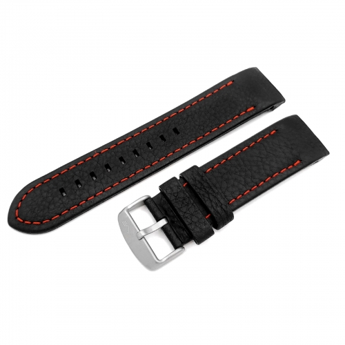 Vostok Europe Anchar leather strap / 24 mm / black / red / mat buckle