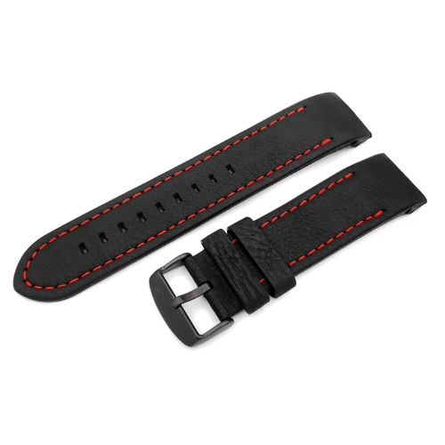 Vostok Europe Anchar leather strap / 24 mm / black / red / black buckle