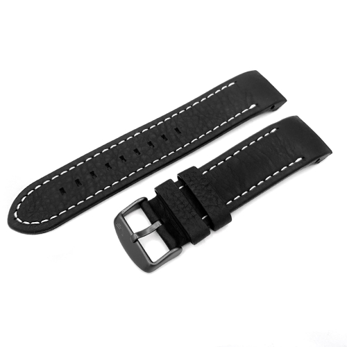 Vostok Europe Anchar leather strap / 24 mm / black / white / black buckle