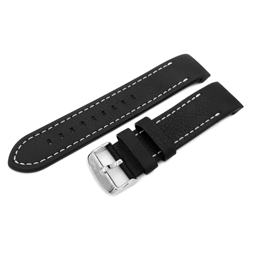Vostok Europe Anchar leather strap / 24 mm / black / white / polished buckle