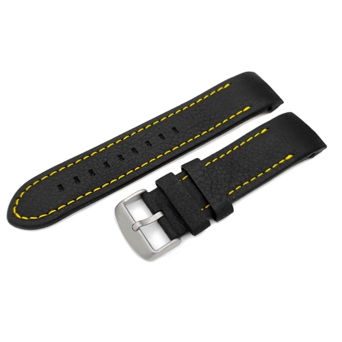 Vostok Europe Anchar leather strap / 24 mm / black / yellow / mat buckle