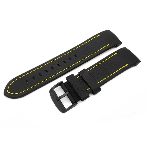 Vostok Europe Anchar leather strap / 24 mm / black / yellow / black buckle