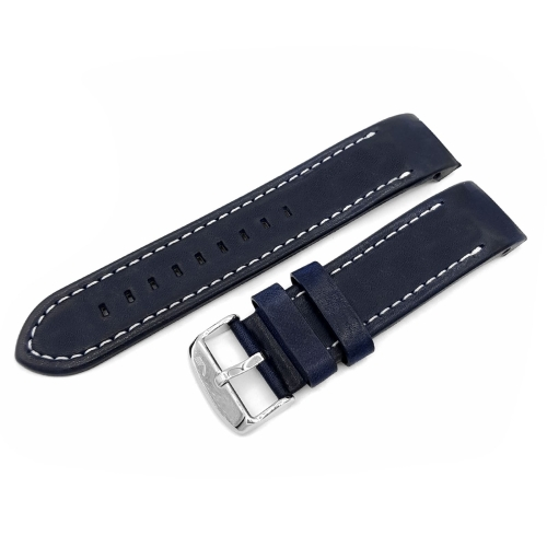 Vostok Europe Anchar leather strap / 24 mm / blue / white / polished buckle