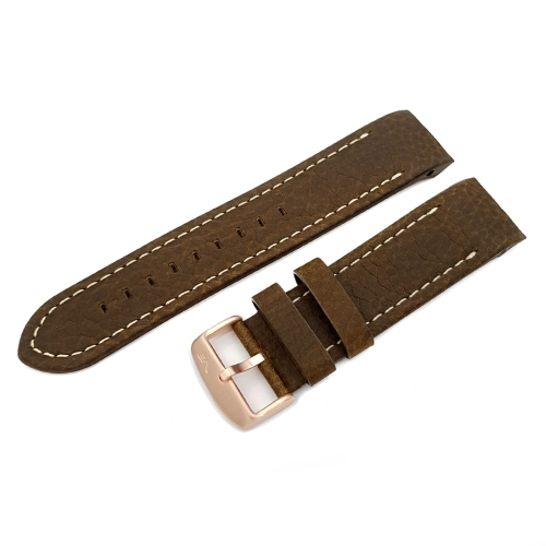 Vostok Europe Anchar leather strap / 24 mm / brown / white / bronze-color buckle