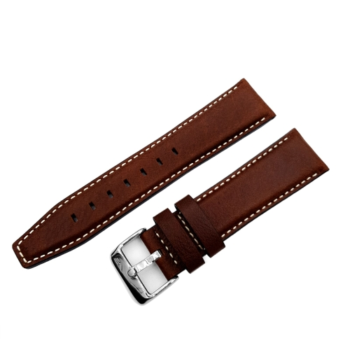 Vostok Europe GAZ-14 leather strap / 23 mm / brown / white / polished buckle