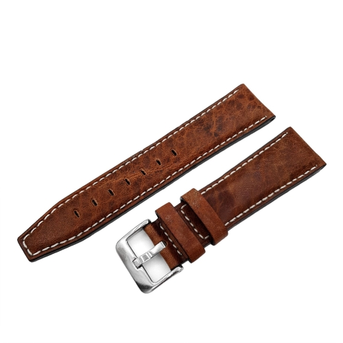 Vostok Europe GAZ-14 Open Balance leather strap / 23 mm / brown / white / polished buckle