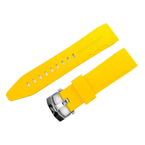 Vostok Europe Lunokhod 2 silicon strap / 25 mm / yellow / polished buckle