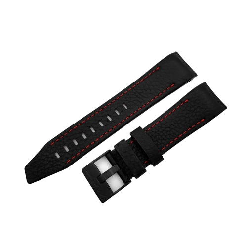 Vostok Europe Mriya 2 leather strap / 24 mm / black / red / black buckle
